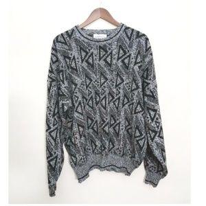 Vintage Black & Gray Tribal Grandpa Sweater